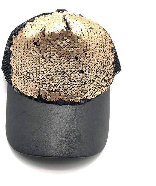 BASDW Moda Mujer Hombres Lentejuelas Bordado Gorra de béisbol ...