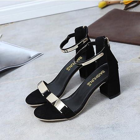 ❉Sandales Talon Haut Femme,Xinan Femmes Et/é Sandales /à Talons /Épais Talons Hauts Chaussures Noir//Gris. EU:39, Noir
