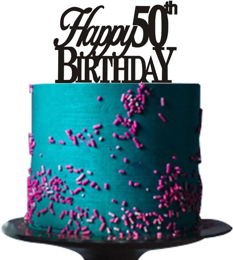 Stupendous Amazon Com Happy 50Th Birthday Cake Topper For 50Th Birthday Cake Personalised Birthday Cards Veneteletsinfo