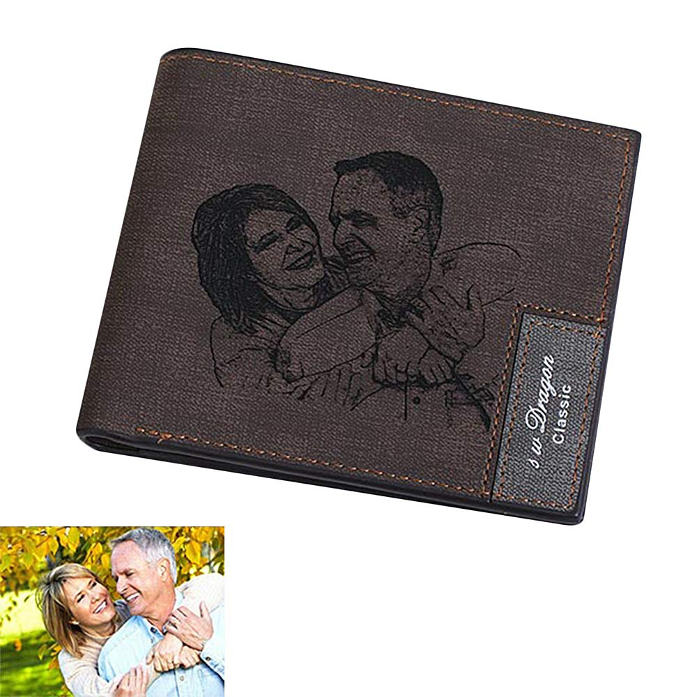 Personalized Photo Wallet Custom Mens Wallet Leather Wallet Mens Gift Fathers Day Gift