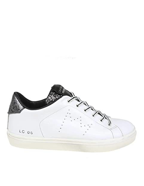 uk availability e9dd5 2e270 Leather Crown Sneakers Donna WLC06305 Pelle Bianco: Amazon ...