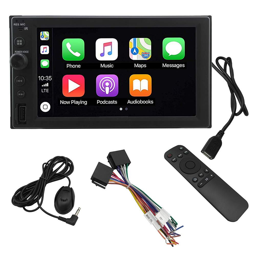 LEADSIGN CT-6200 Double Din Car Stereo Digital Media Receiver with Apple CarPlay,Android Auto,Built-in Bluetooth,6.2'' Touch Monitor,MP5/WMA Player,USB Ports,AVIN Input and AM/FM Radio Tuner by LEADSIGN