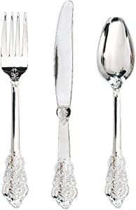 WDF 360 Pieces Silver Plastic Silverware- Disposable Flatware - Heavyweight Plastic Cutlery- Includes 120 Forks, 120 Spoons, 120 Knives