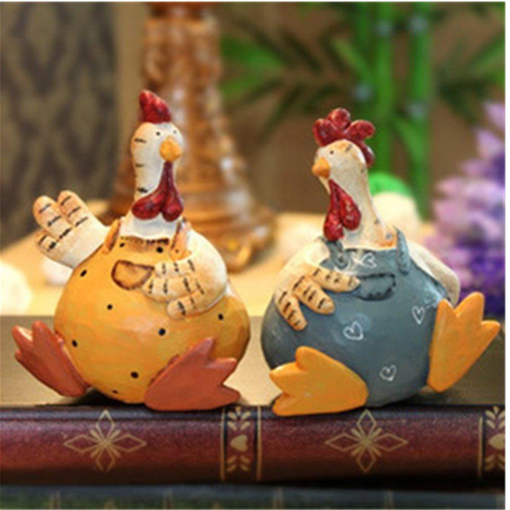 A menudo chateando campestres gallinas resina adornos - juego de 2 decoraciones para el hogar