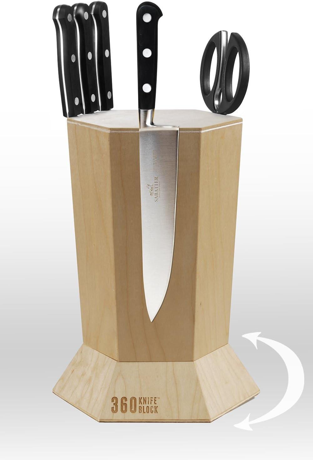 360 Knife Block - (Ebonized Walnut) ROTATING - Magnetic - BEST Universal Knife Block Maple