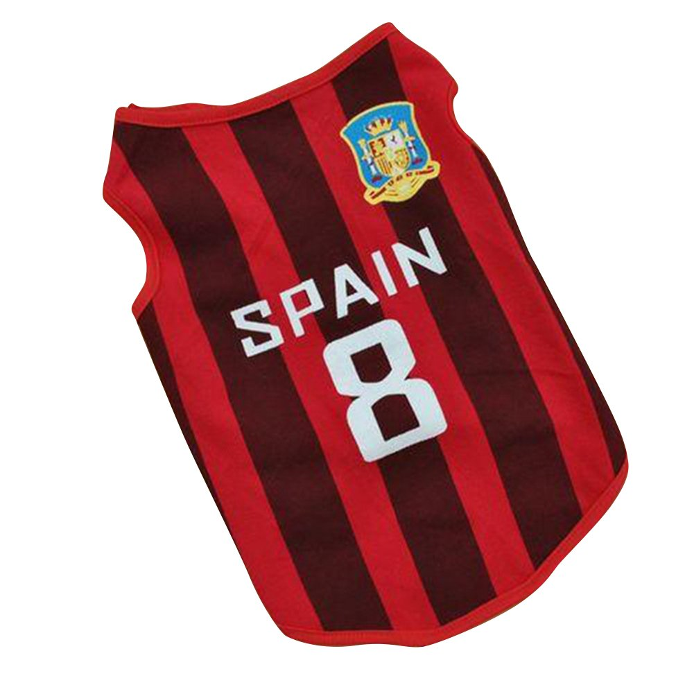 4d8903e15d0 Amazon.com : Haogo Pet Puppy World Cup SPAIN Jerseys Small Dog Pet Clothes  Vest T-Shirt L : Pet Supplies