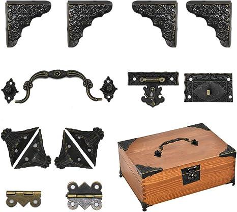 3//6cm Vintage Messing WrapAngleMöbel 90°Corner Code Jewelry Wood Box Protect