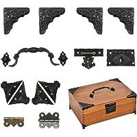 Jewelry Box Antique Lock Latch Hasp Hinges Handle Box Corner Protectors Kit for DIY Jewelry Box Bronze Tone 2 Sets 24Pcs