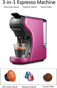 HiBREW 3-in-1 Multi-Function Espresso Dolce Gusto Machine Compatible with Nespresso Capsule, Dolce Gusto Capsule and Ground Coffee, Italian 19 Bar High Pressure Pump, Buttons for Espresso and Lungo, 1450W (Purple)
