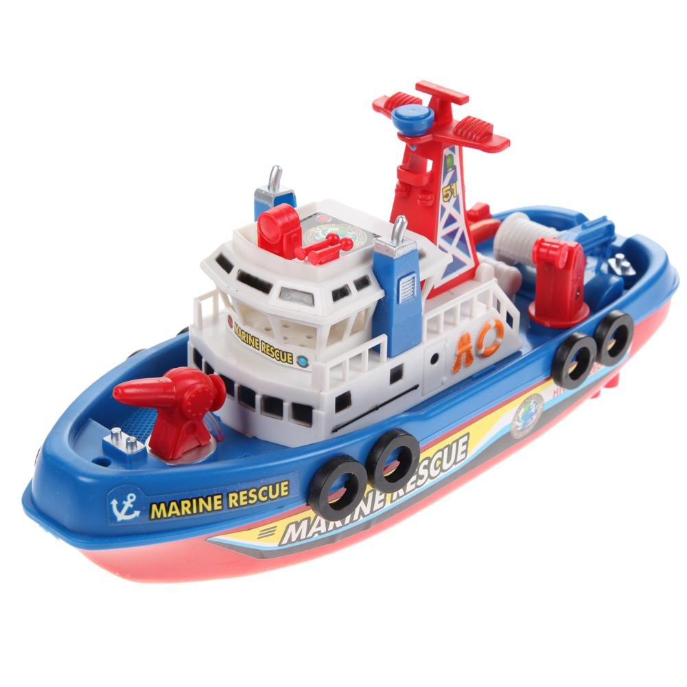 Iainstars Fire Boat Electric Boat Children Electric Toy Navigation Non-remote Warship