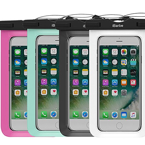 (4 Pack Waterproof Case,iBarbe Universal Plasic TPU Phone Dry Bag for iPhone 7 7 plus 6S 6/6S Plus 5/S/SE 5C samsung galaxy Note 5 s8 s8 plus S 8 S7 S6 Edge s5 etc.to 5.7 inch,White+Black+Tear+Blue)