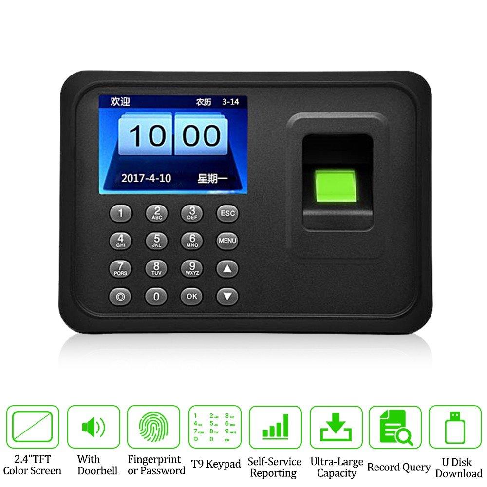 LIBO Biometric Fingerprint Time Attendance Machine Fingerprint Time CLock  System, 2 4inch Screen, Support USB Record, 600 User Capacity