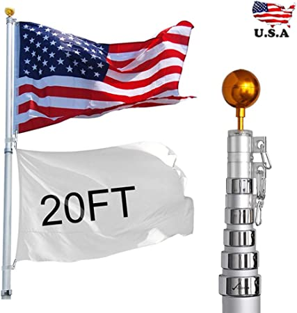 Amazon Com Big Times 6 20 25 30ft Flagpole Aluminum Telescopic Flag Pole Kit With Us Flag Gold Ball American Flag With Pole Flag Pole For House 20ft Garden Outdoor