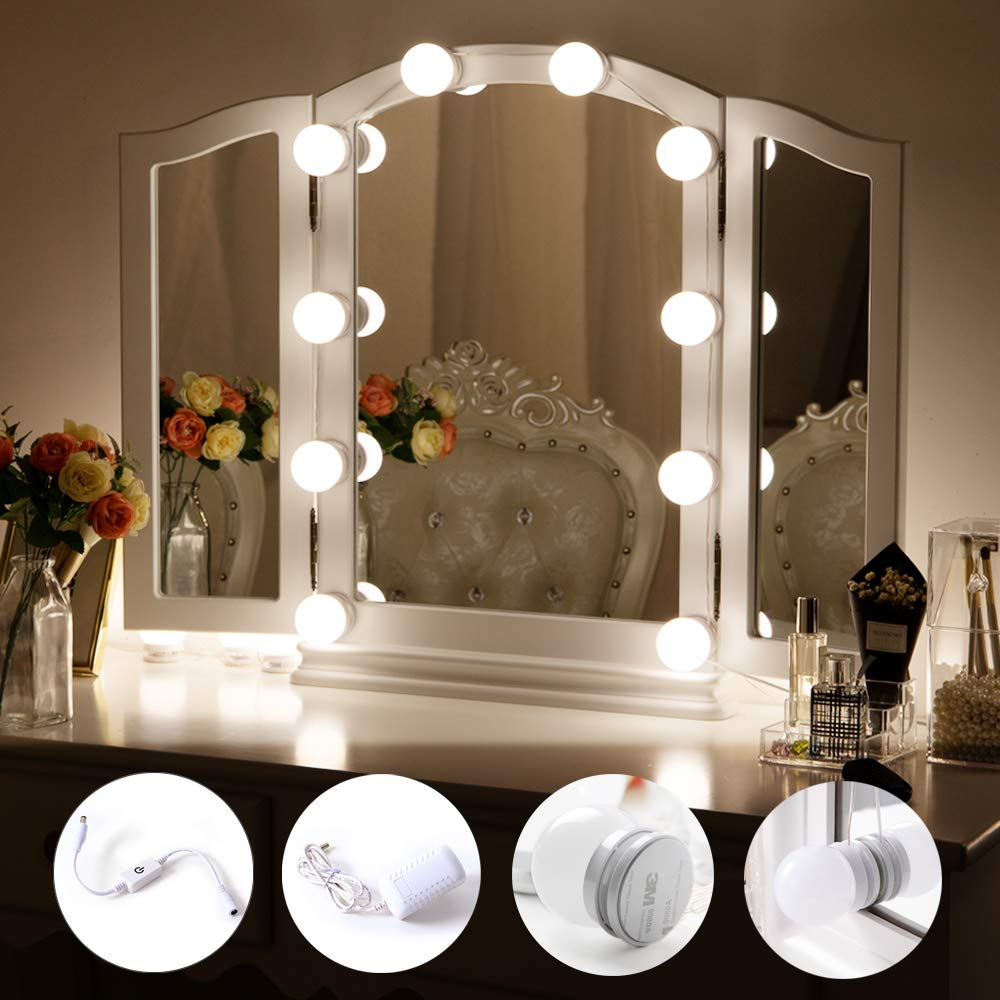 Chende Hollywood Style LED Vanity Mirror Lights Kit with Dimmable Light Bulbs, Lighting Fixture Strip for Makeup Vanity Table Set in Dressing Room (Mirror Not Include) by Chende (Image #2)
