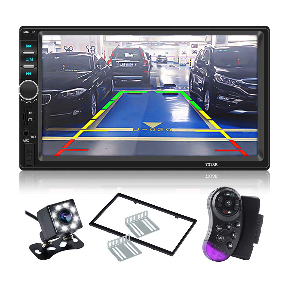 timeless design 7b0b8 57c08 CarThree Double Din Touch Screen Car Stereo 7 Inch LCD Car Radio  Touchscreen Bluetooth with Rear View Camera Tape,MP5 Player, USB, SD Card,  AUX ...