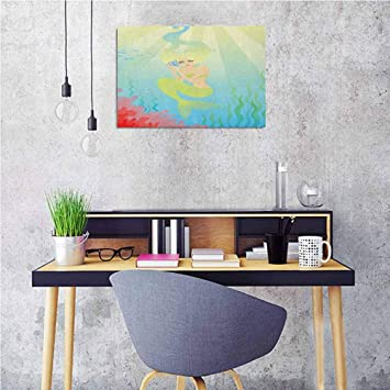 Amazon Com Mermaid Kitchen Wall Art Soft Pastel Color Unusual Mermaid Fish Girl Listening To Ocean Sound In A Shell Wall Stickers Home Decoration 24x16 Baby