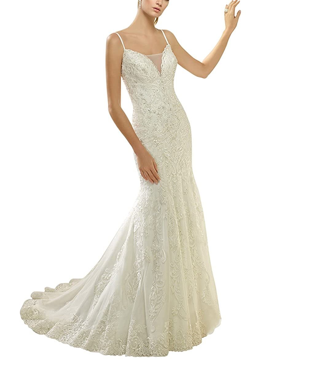 Newdeve White Strap Lace Wedding Dresses Slim Fit Mermaid Backless