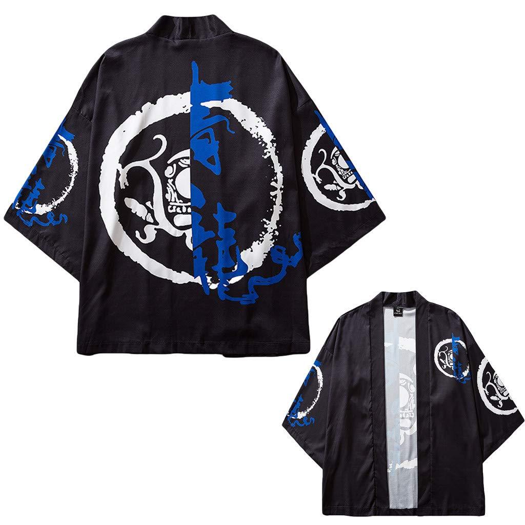 SKYLULU✿Mens Cardigan National Print Loose Jacket Yukata Coat Baggy Tops Summer Casual Cool Top Tee