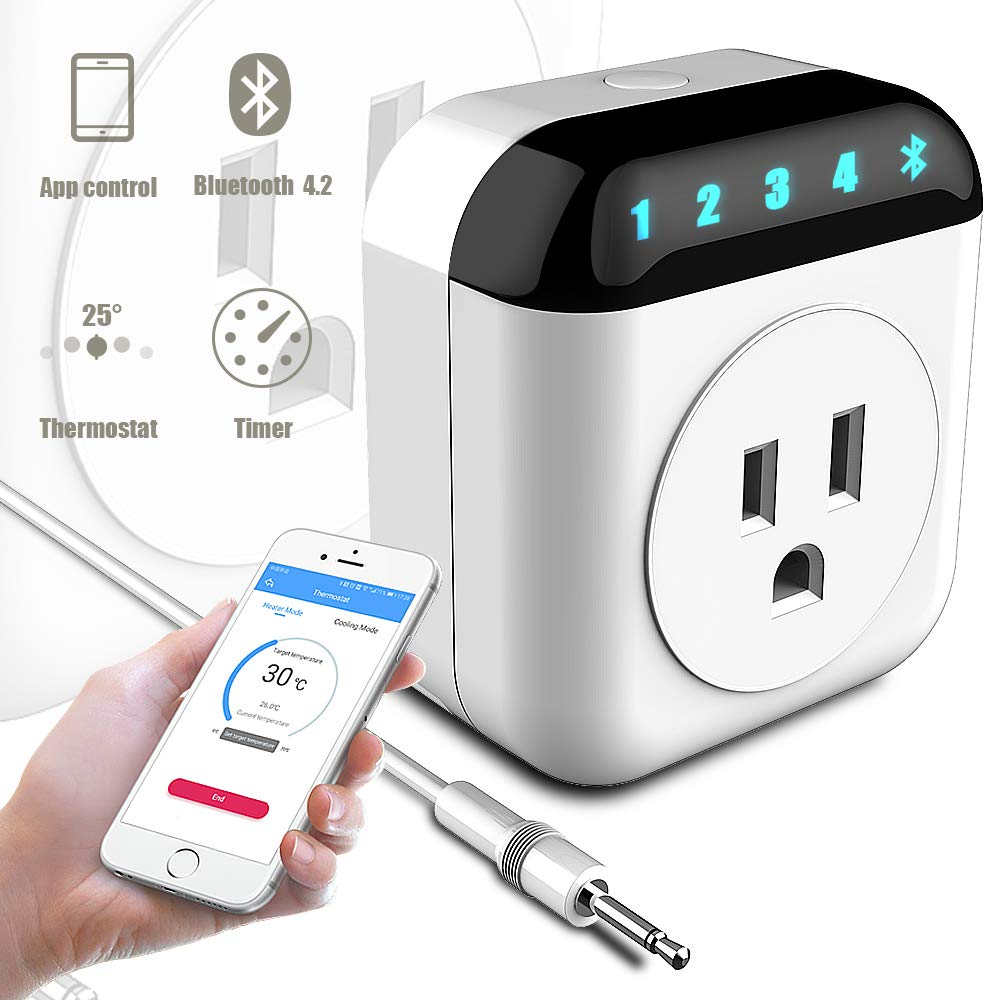 NASHONE Bluetooth Smart Plug App Remote Control Socket with Thermostat, Timing and Countdown Function, Digital Temperature Controller with Heating and Cooling Mode Pre-Wired Sensor Probe
