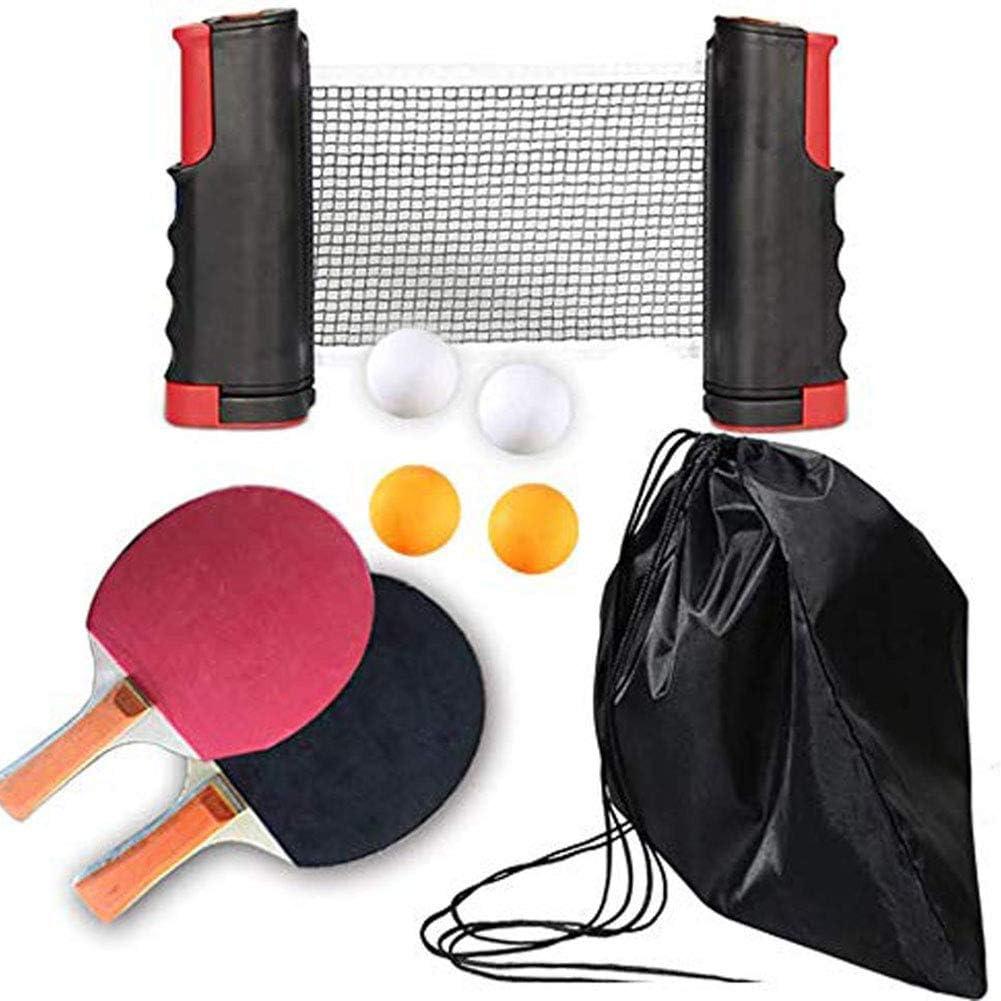 FEE-ZC Juego de Ping Pong portátil de Viaje al Aire Libre para Interiores, Juego de pádel de Tenis de Mesa, 2 Raquetas Premium, 4 Pelotas, 1 Red de Tenis de Mesa para Jugar