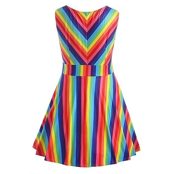 8eaa00db86c63 HGWXX7 Women Summer Fashion Plus Size Rainbow Print Sleeveless A-Line Mini  Dress at Amazon Women s Clothing store