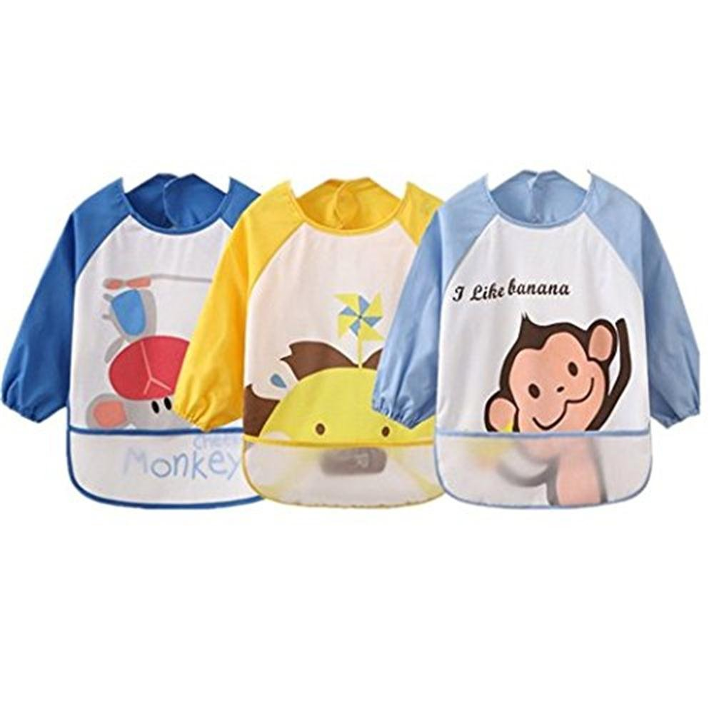 Oral-Q Unisex Kids Childs Babys Arts Craft Painting Apron Baby Waterproof Bibs with Sleeves&Pocket, 6-36 Months,Set of 3 (2 Blue/1 Yellow)