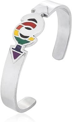 Dan de joyería puños pulsera bandera del arco iris gay orgullo lgbt gay símbolo, fino peltre joyas: Amazon.es: Joyería