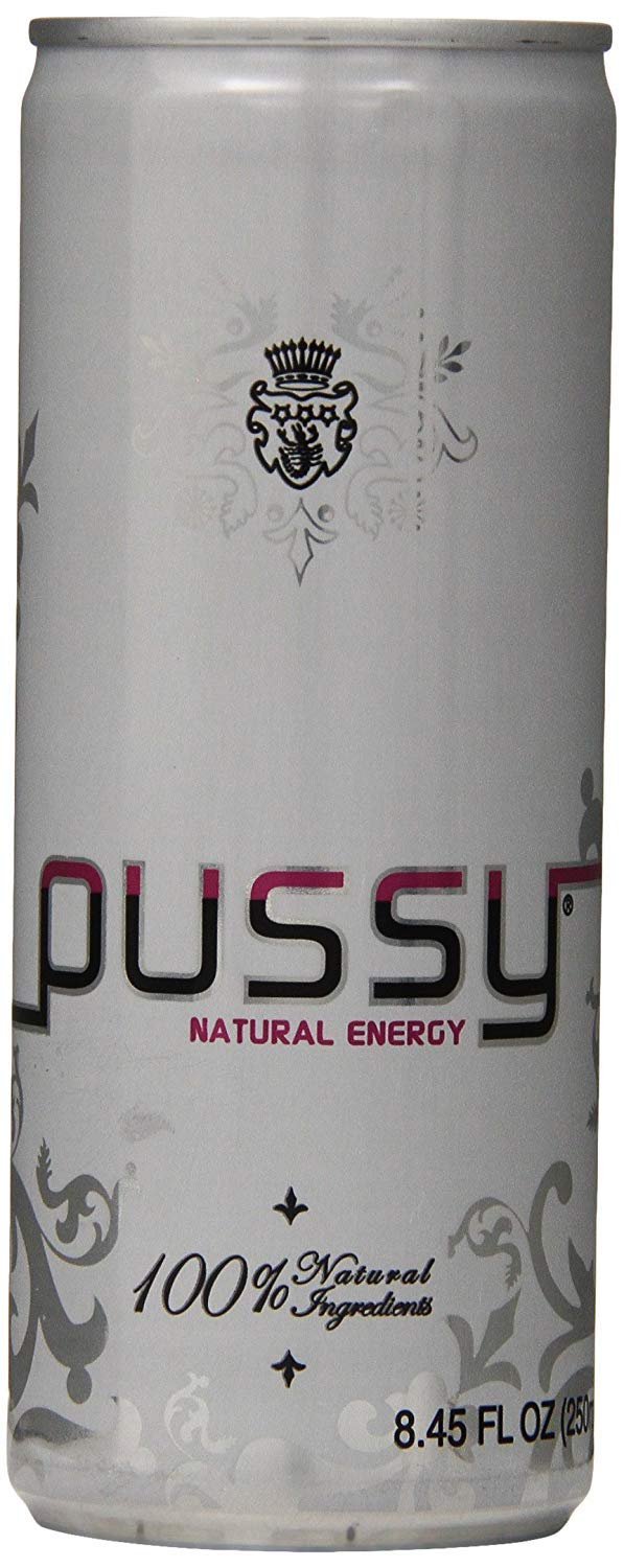 Pussy Natural Energy Drink | Naturally Sweetened and Flavored Drink | Healthy, Vegan and Gluten Free | Natural Caffeine | Great Tasting and Hydrating Energy Drink | 250 Mililliter Cans (Pack of 6)