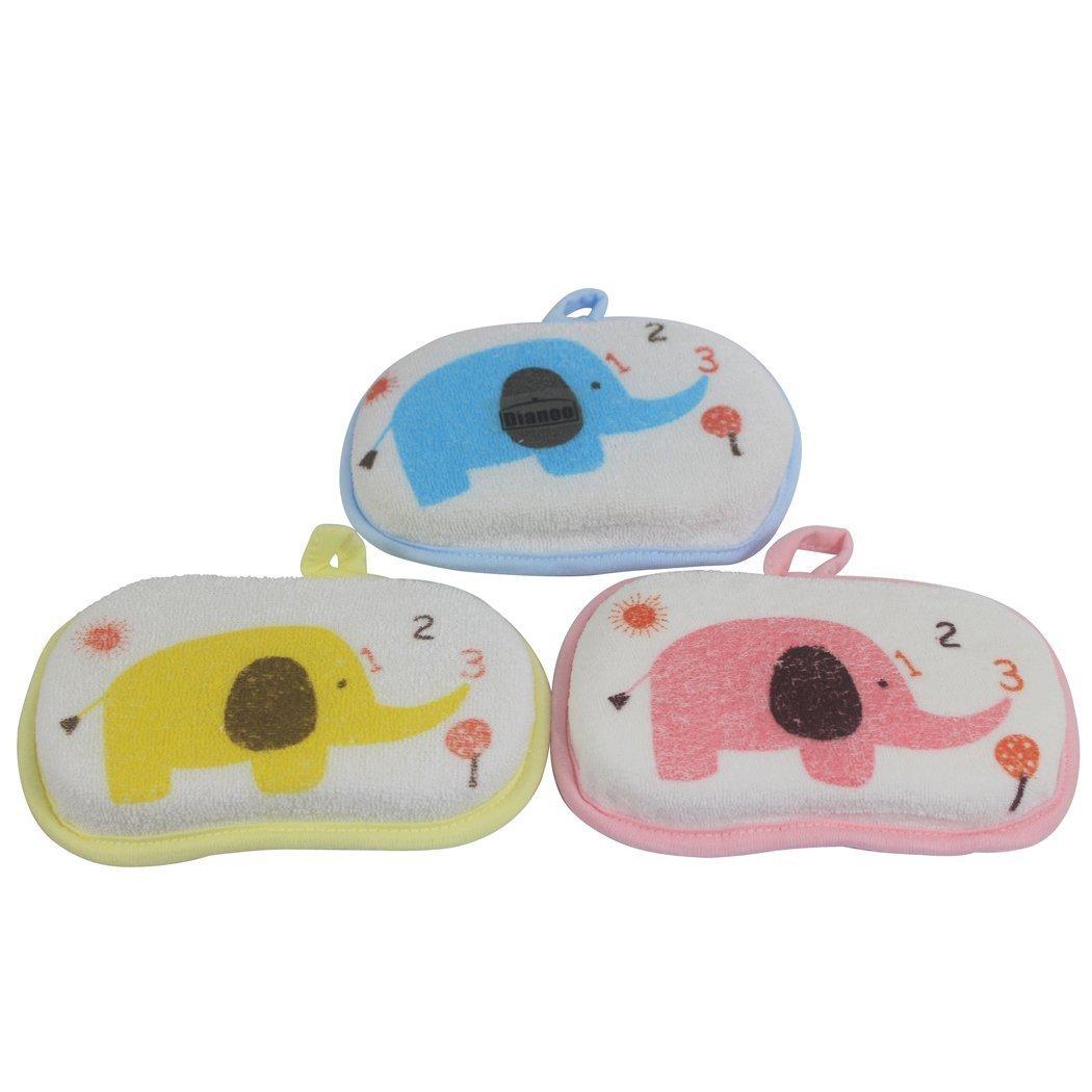 Dianoo 3 PCS Baby Bath Sponge, Infant Shower Bath Brush, Soft Pure Cotton Baby Bath Foam Rub Shower Sponge (Random Colors) worth2buy