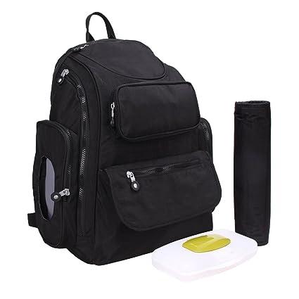 YuHan Oxford bebé bolsa de pañales pañal Mochila Gran Capacidad cambio Pad para cochecito negro negro