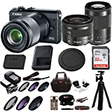 Canon EOS M100 Mirrorless Camera w/ 15-45mm & 55-200mm Lenses & 32GB SD Bundle Black