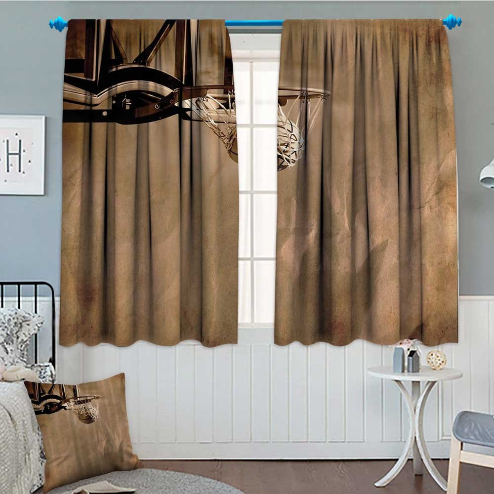 Basketball Basketball Room Darkening Wide Curtains Girls and Boys Prime Sports Fan Fabric Teens College Dorm Decorations of Sports Lovers Decor Curtains By 84''x84'' Brown Bronze