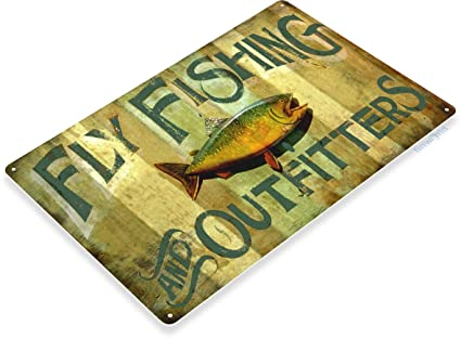River Runt Lure Fishing Fish Bait Marina Rustic Fish Metal Decor Sign