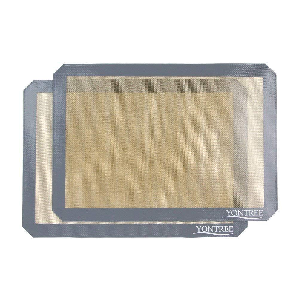 Yontree Silicone Baking Mat Cookie Sheet 2 PCS Quarter Size (11.5x8.5 inches) Brown Base & Gray Edge