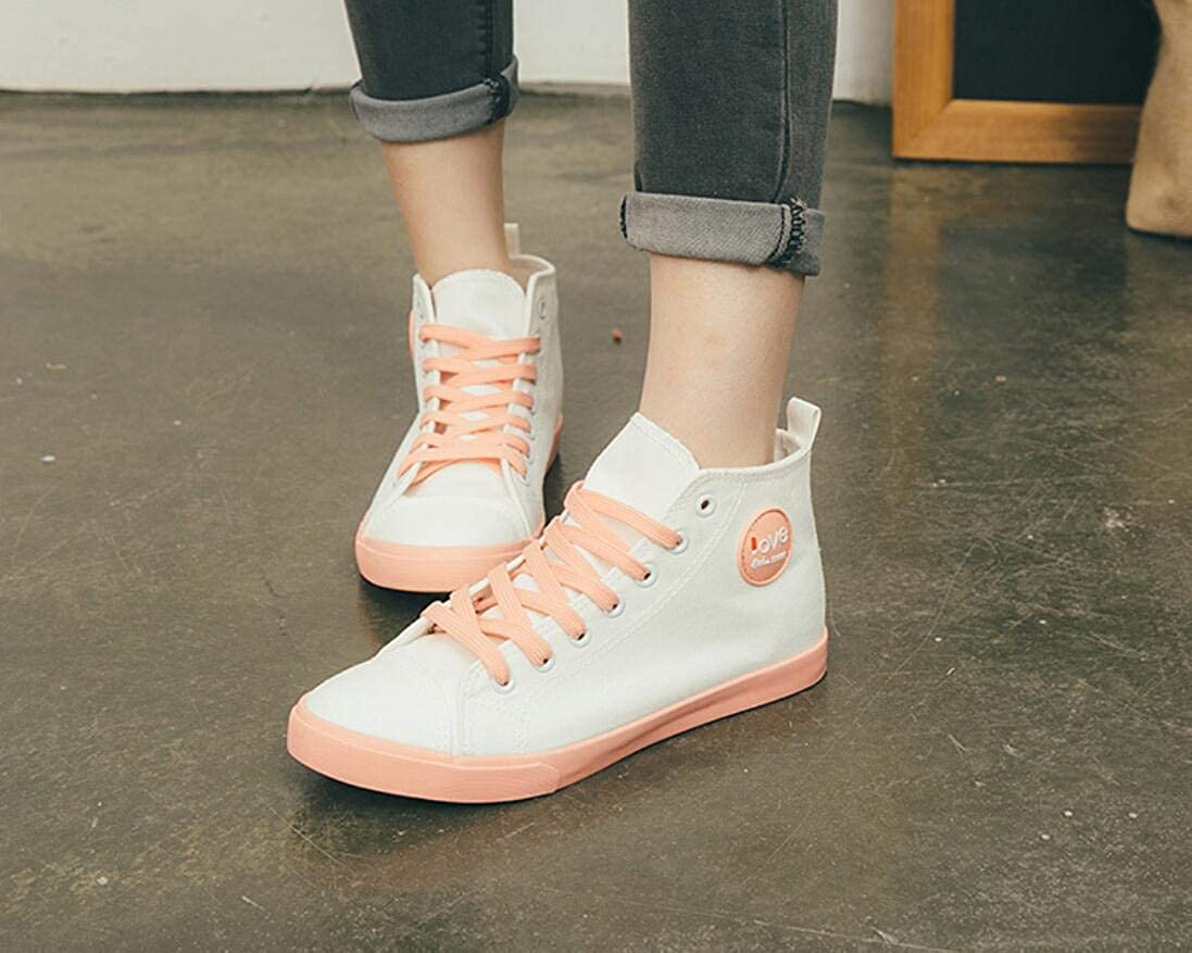 Gusha Lace high-top Sports Canvas Shoes Breathable Flat-Bottom Womens White Shoes