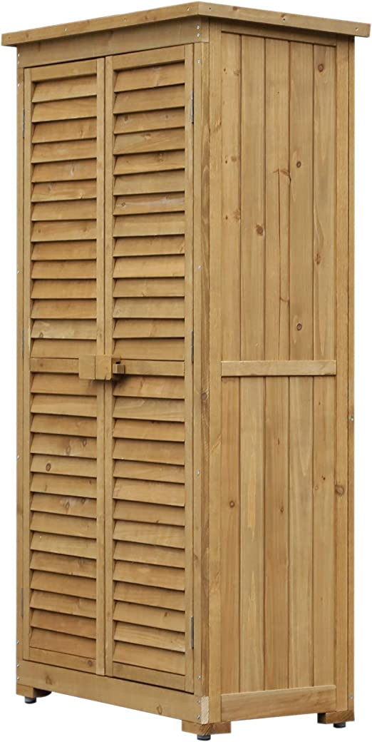 Outsunny Armadio Porta Attrezzi da Giardino Impermeabile 3 Ripiani Legno 87x46.5x160cm