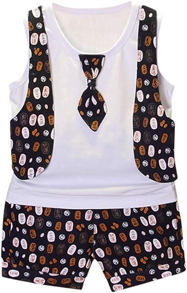 SSZZoo Toddler Baby Boy Wedding Suit Cloth Sets Bowtie Gentleman Vest T-Shirt Pants Fake Vest Stripes
