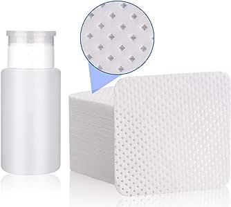INFILILA Lint Free Nail Wipes Set 540PCS Upgrade Soak Off Nail Wipes Cotton Pads With 1PCS Push Down Pump Dispenser Bottle Alcohol Acetone Pump Dispenser 180ml/6.4oz
