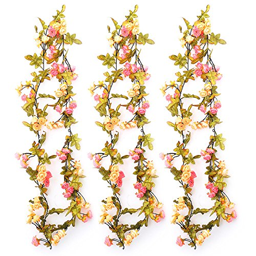 Fall Vine (YILIYAJIA 3PCS Autumn Rose Garland Artificial Rose Flower Vine with Fall Color Leaves Floral Vines Decoration for Wedding Home Office (pink+champagne))