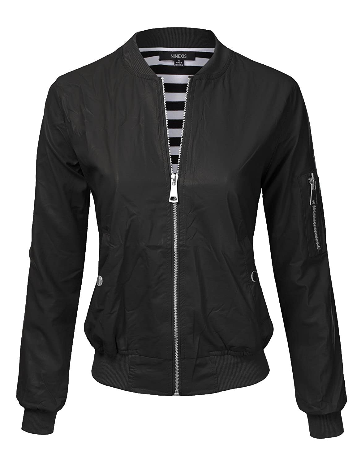 Ninexis womens zip up faux leather bomber jacket 9 colors for Define faux leather