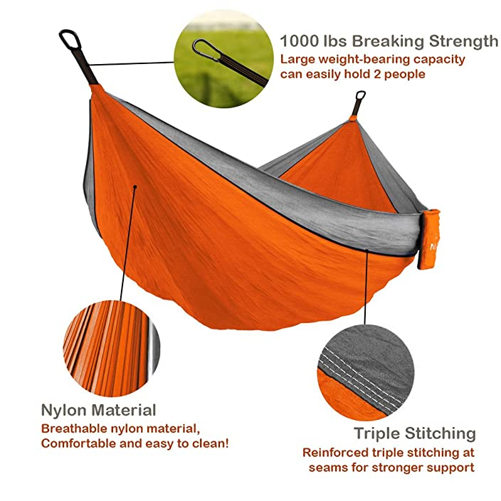 Double & Single Portable Camping Hammock - Parachute Lightweight Nylon with Hammok Tree Ropes Set