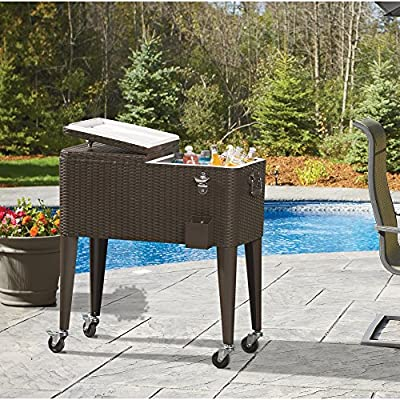 ARKSEN 80 Quart Patio Deck Cooler Rolling Outdoor Solid Steel Construction Party Home