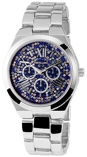 Reloj mujer azul plata brillantes números romanos Chrono aspecto de reloj de pulsera