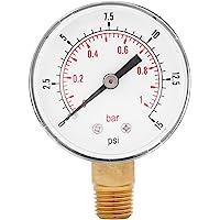 Medidor de presión baja para combustible, aire, aceite o agua 0-15psi / 0-1bar BSPT, montaje inferior