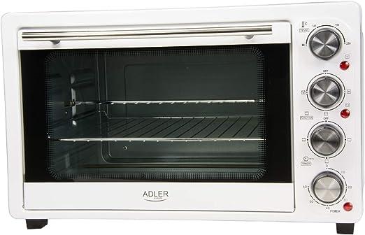 Adler AD-6001 Horno de sobremesa con convección 34 litros, 200 W, 0 Decibeles, Acero Inoxidable, Blanco: Amazon.es: Hogar
