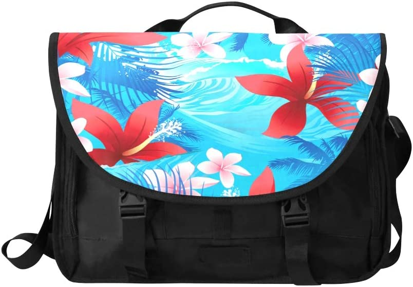 Laptop Bag for Girls Plumeria Tropical Flower Multi-Functional Mens Briefcase Laptop Fit for 15 Inch Computer Notebook MacBook