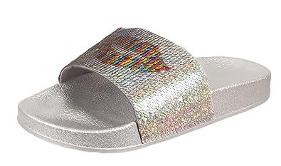 537817579a2d Womens Ladies Glittery Sequin Sliders Flats Slip ONS FLIP Flop Sandals Mule  Size (UK 3