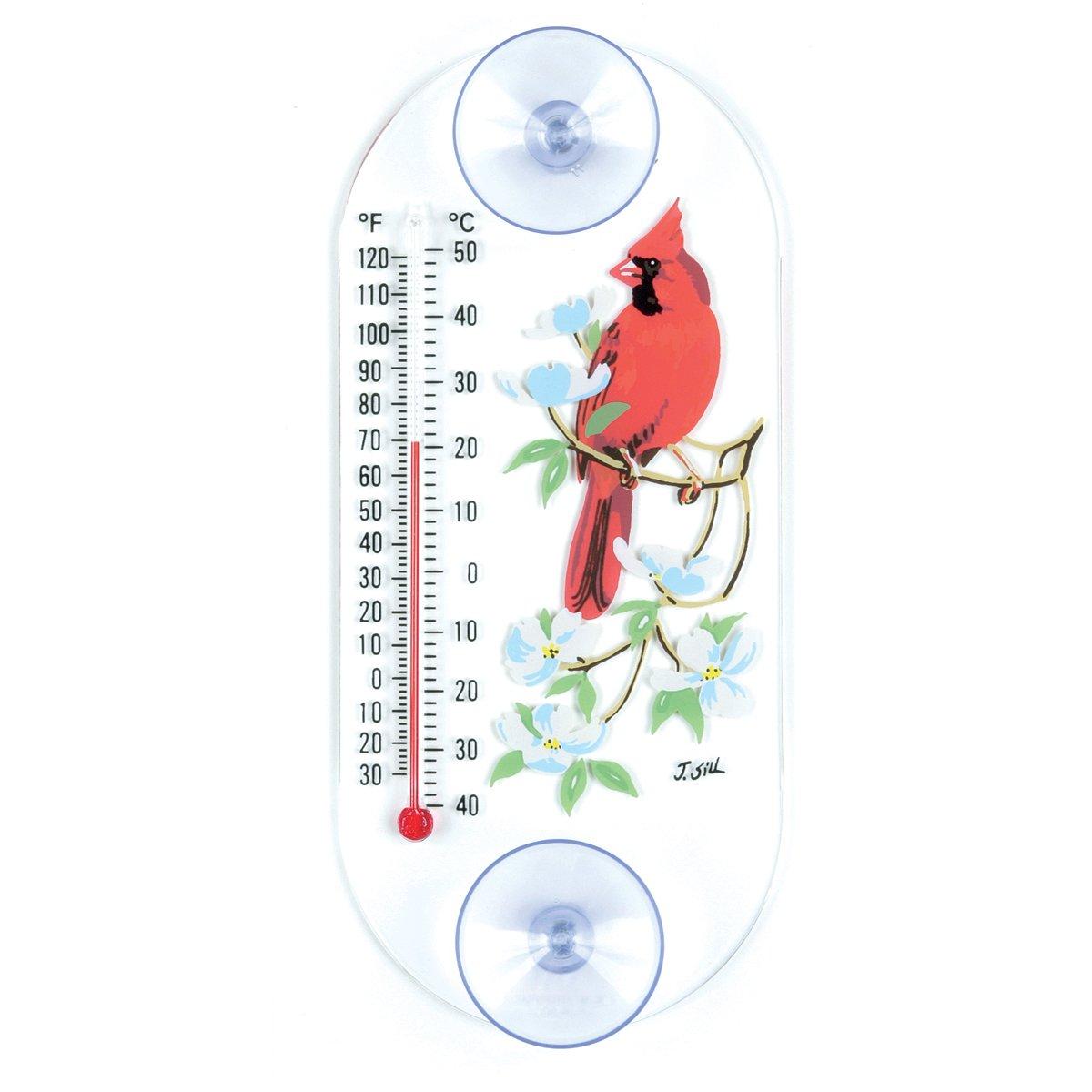 Aspects 193 Cardinal/Dogwood Window Thermometer, 8-Inch