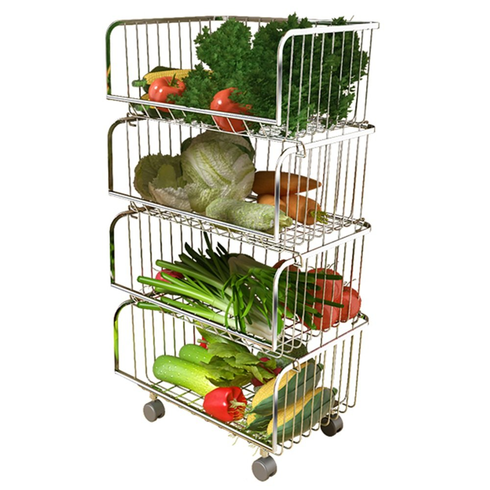 YSNBM Display Shelf 304 Stainless Steel Kitchen Hollow Drain Storage Rack/Vegetable And Fruit Racks Multi-layer Floor Stroller Mesh Basket/Silver/With Wheels/Load-bearing Strong Living Room,Bedr by YSNBM