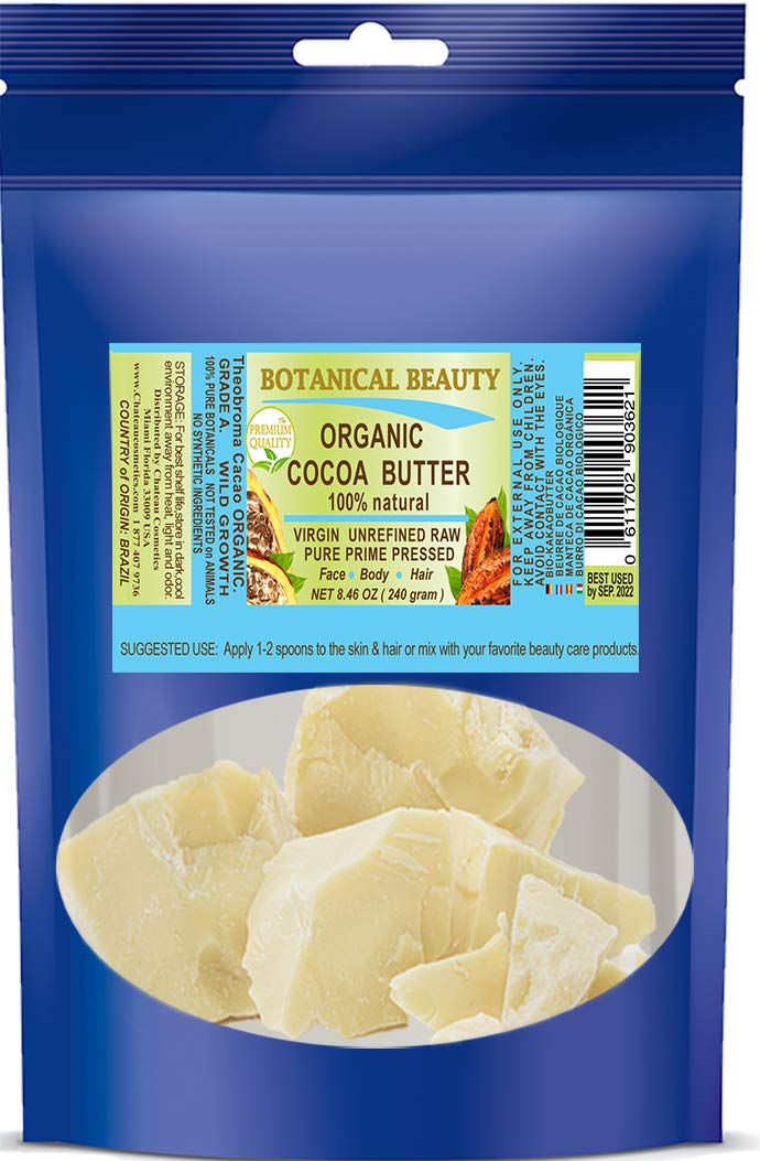 100% Pure ORGANIC COCOA BUTTER WILD GROWTH RAW VIRGIN UNREFINED from BRAZIL Non-Deodorized Cacao Butter Antioxidant Natural Skin Moisturizer Vegan Non-GMO for Lotions, Cream, Hair Products, Food Grade, Smells Like Chocolate 8.46 oz 240 gram by Botanical Beauty
